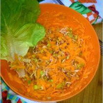 Zdrowa surówka marchewkowa z kiełkami i olejem ostropestowym