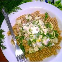 Obiad fit. Rozowy makaron w lekkim pieczarkowym sosie (2)