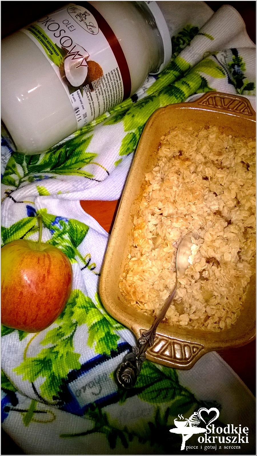 Zapiekany kokosowo-owsiany deser z cynamonowym jabłuszkiem (2)