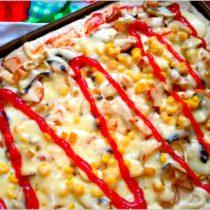 Słoneczna pizza na cebulowym cieście wg mojego męża (1)