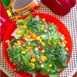 Kolorowa sałatka obiadowa (z kukurydzą i papryką) oraz kilka słów o przyprawach Galeo