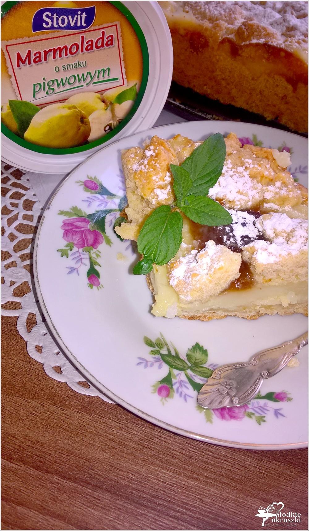 Kruche ciasto z budyniem i marmoladą (5)