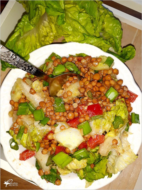 Sałatka z soczewicą, papryką i zielonymi dodatkami (1)