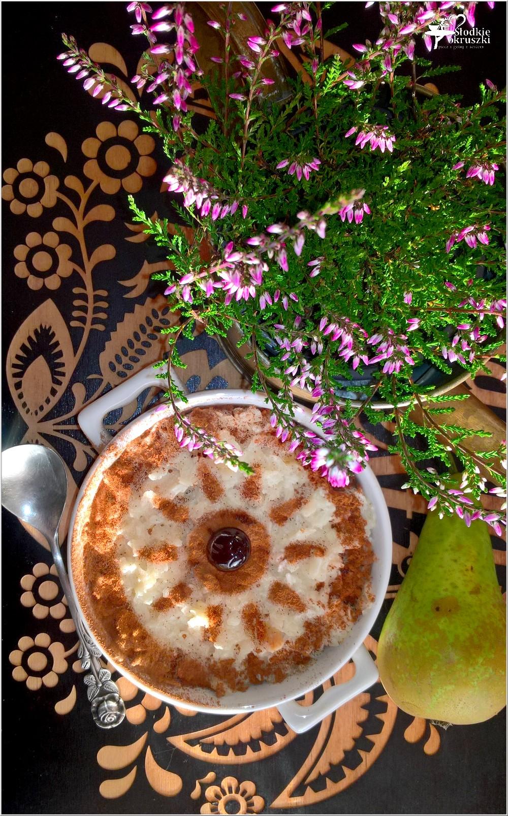 Zapiekany pudding ryżowy z gruszką i cynamonem (3)