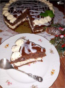 Świąteczny piernikowy tort z cytrynowym kremem i wisienkami (6)