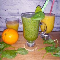 Dwa pyszne zdrowe smoothie zielone i złote na bazie wody fiji