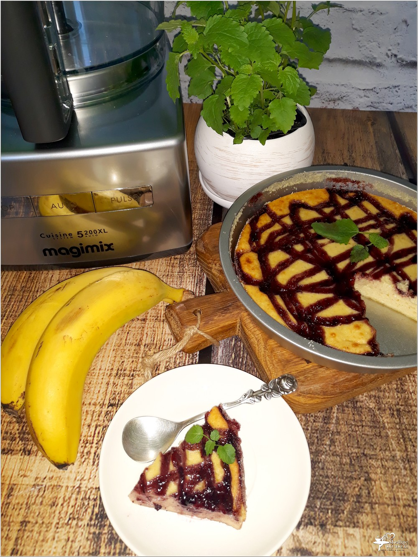Bananowy sernik z jagodową polewą (na twarogu) (5)