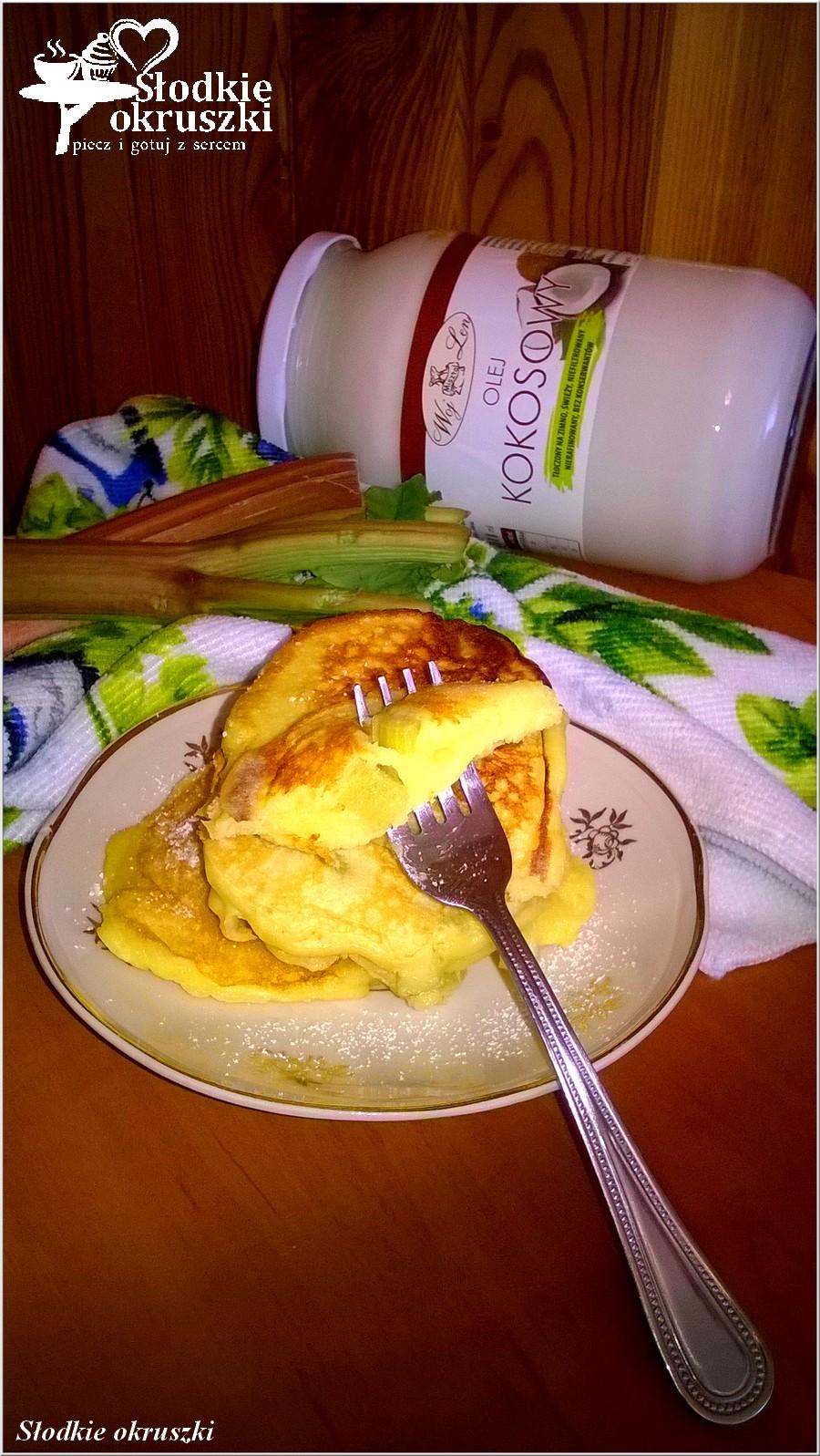 Puszyste rabarbarowe placuszki waniliowe (na oleju kokosowym) (2)