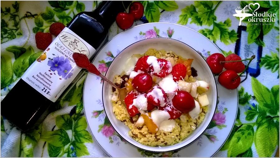Kasza jaglana z owocami i zdrowym dresingiem (na oleju lnianym) (4)