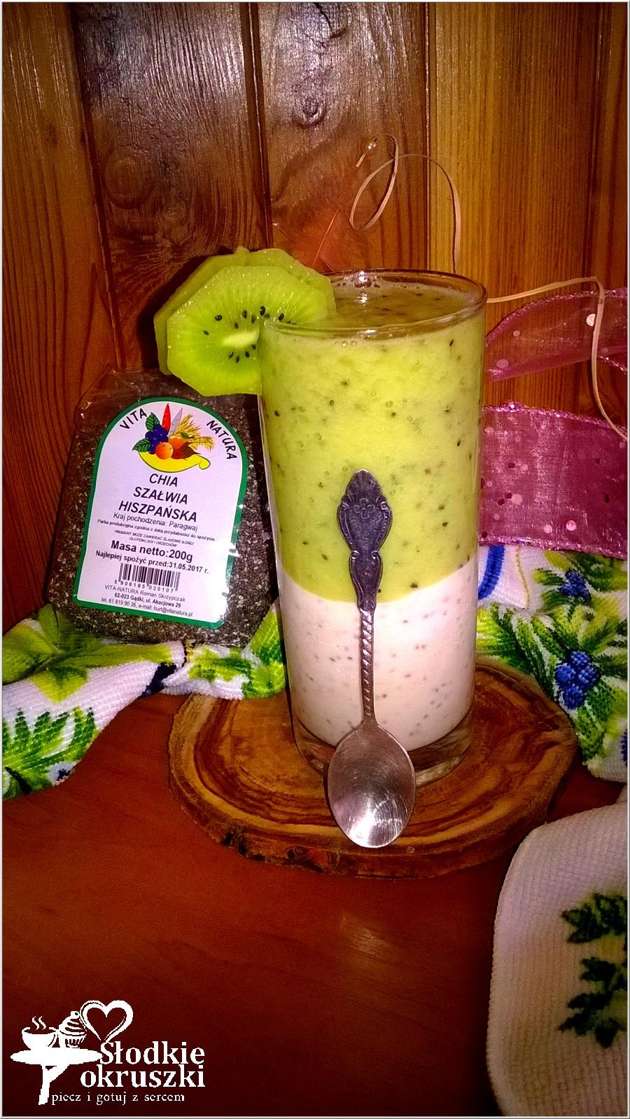Lekki deser z chia, melasą i musem z kiwi (2)