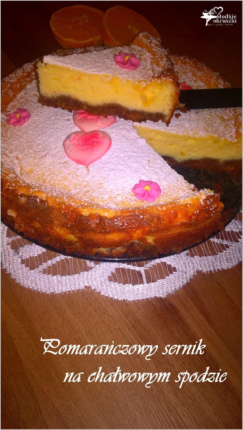 Pomarańczowy sernik na chałwowym spodzie (2)
