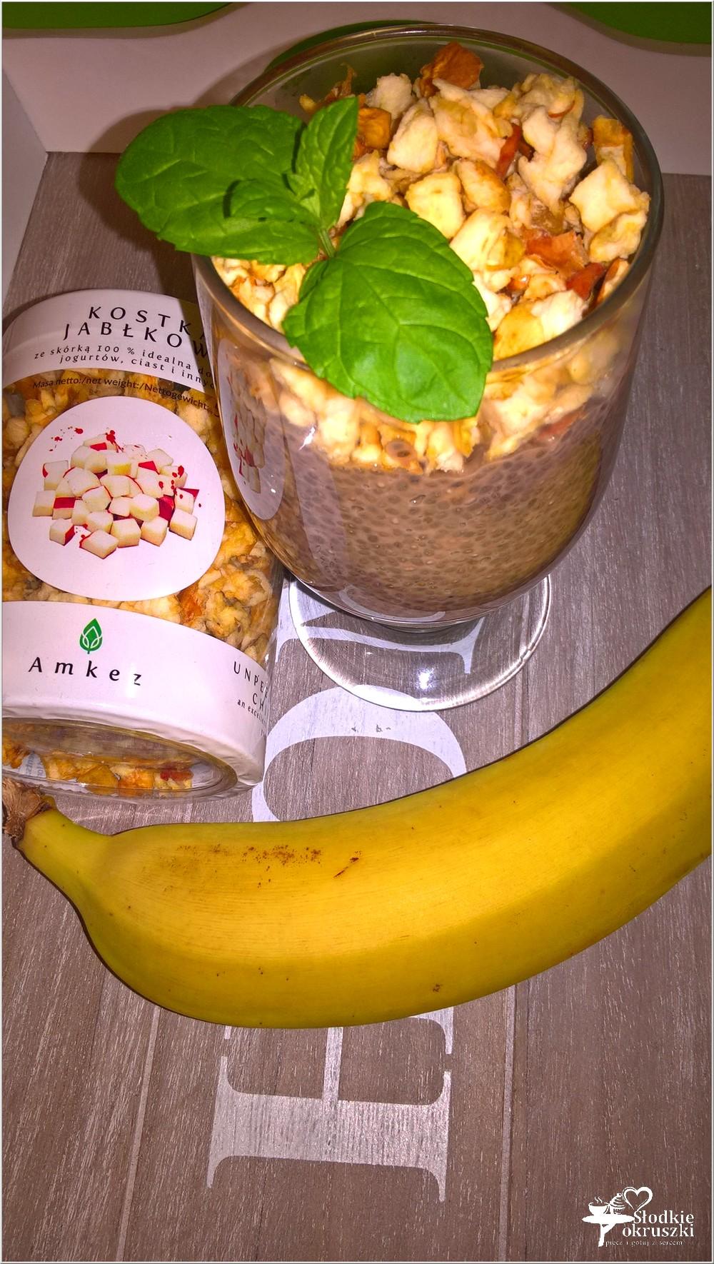 Owsiany deser chia z suszonym jabłuszkiem i bananem (2)