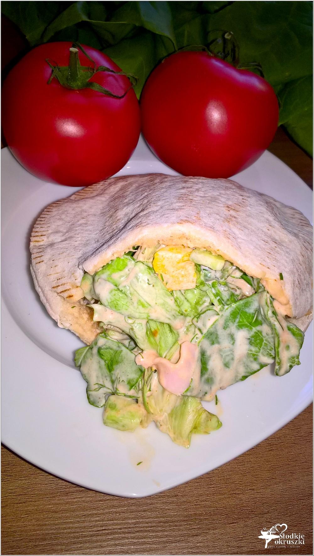 Pita z wędliną, ogórkiem i papryką w czosnkowo pikantnym sosie (1)