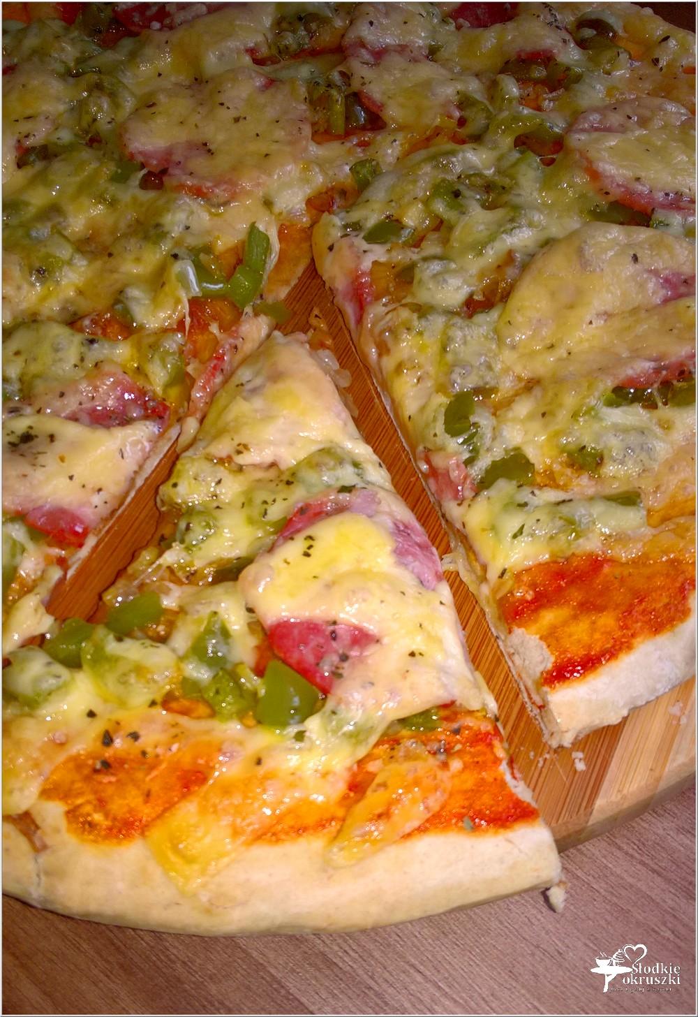 Pizza z zieloną papryką i kiełbasą krakowską podsuszaną (2)
