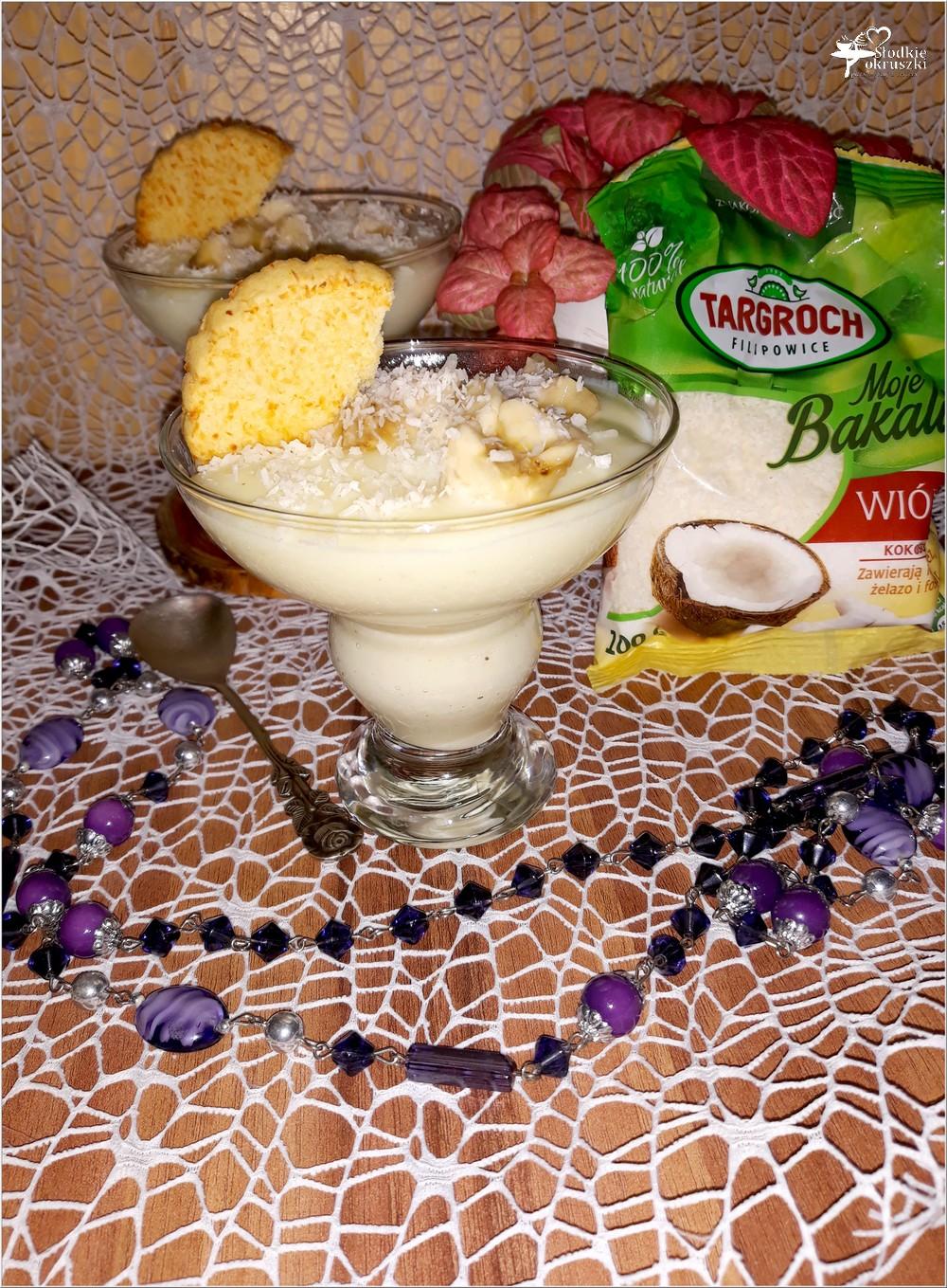 Kremowy deser waniliowo-kokosowy z bananem (na domowym budyniu) (2)
