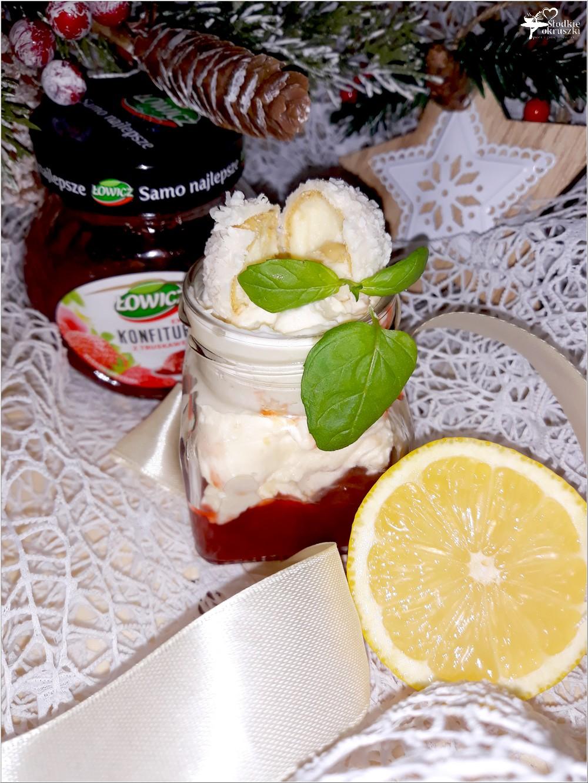 Cytrynowy deser z rafaello z truskawkową słodyczą (2)