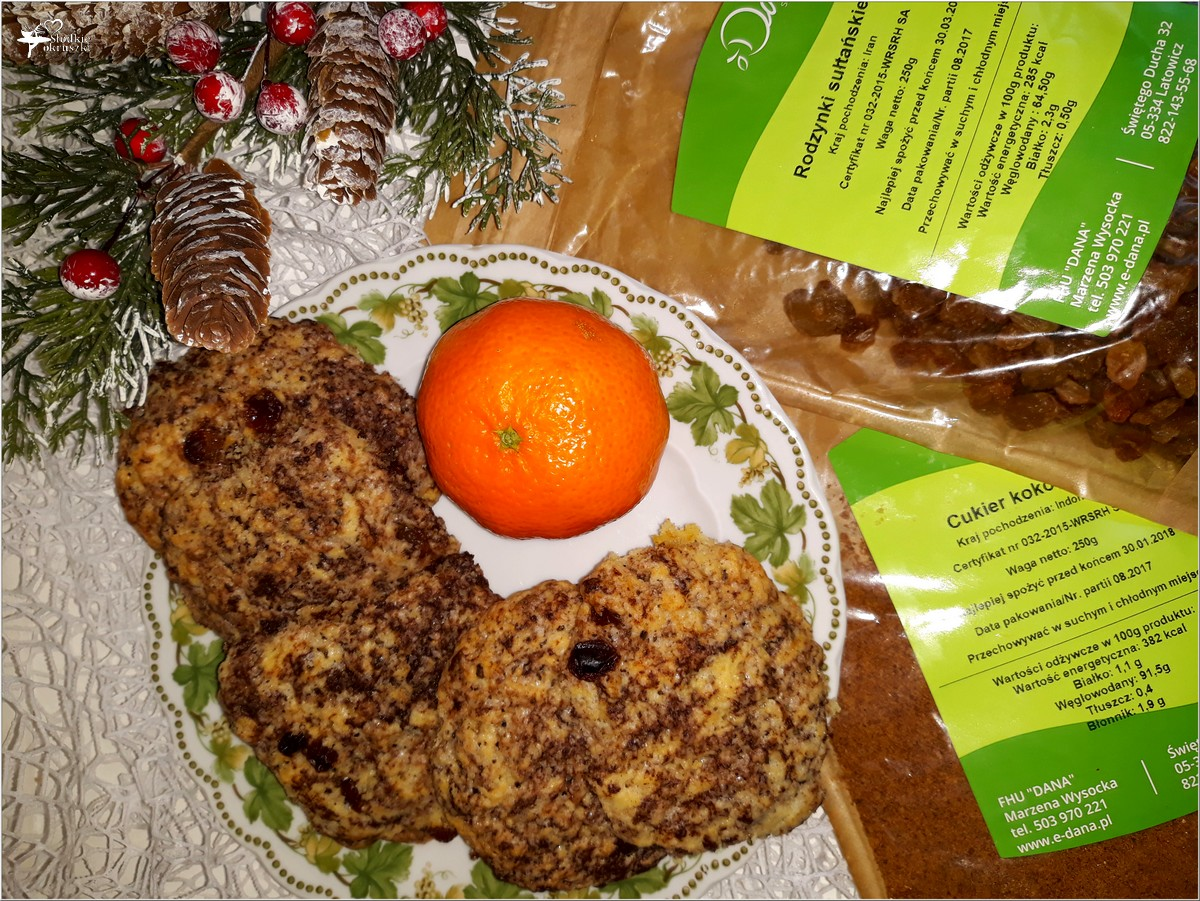 Kokosowo-czekoladowe ciasteczka z rodzynkami (2)