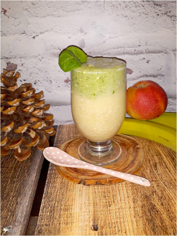 Dwukolorowe smoothie z płatkami owsianymi, szpinakiem i ananasem (1)