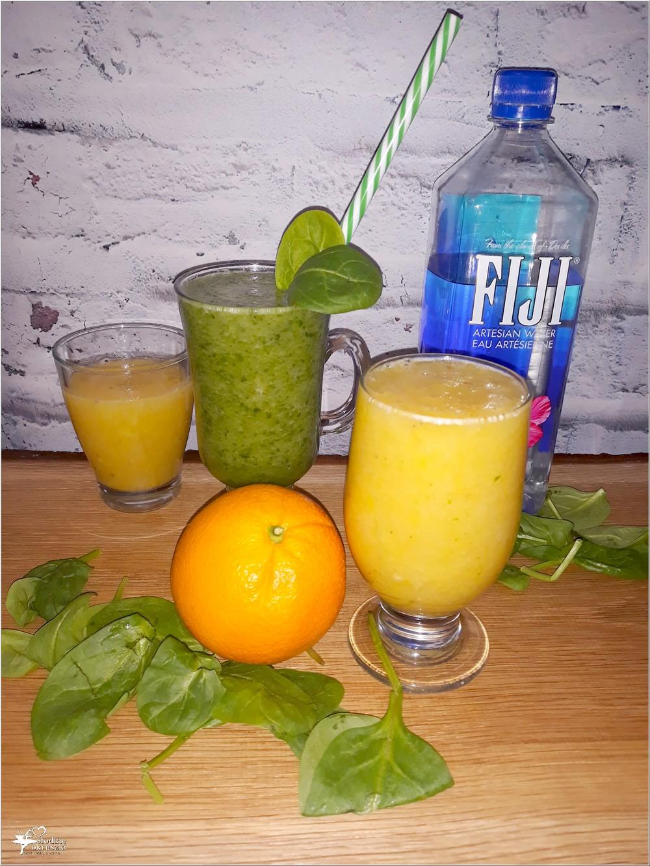 Złote i zielone smoothie oraz woda fiji porcja zdrowia w najlepszej postaci
